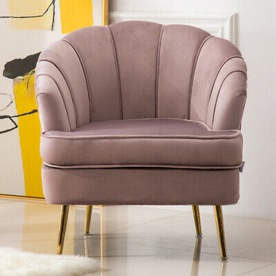 Occasional Scallop Oyster Velvet Armchair Lotus Pink Chair Nordic Modern Bedroom