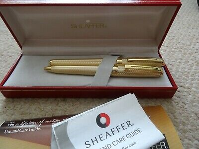 Sheaffer Gold Plated Pen Set, Lifetime Fountain And Ball Pens, Made Usa, Boxed,
