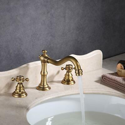 Bathroom Basin Sink Faucet 2 Knob Widespread Vanity Mixer Tap Antique Bronze