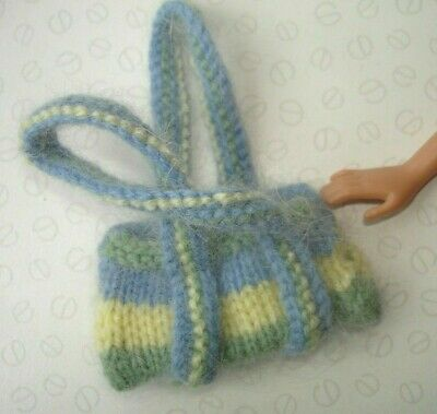 Vintage Barbie Sindy Doll Accessories - Blue Yellow Green Knitted Handbag