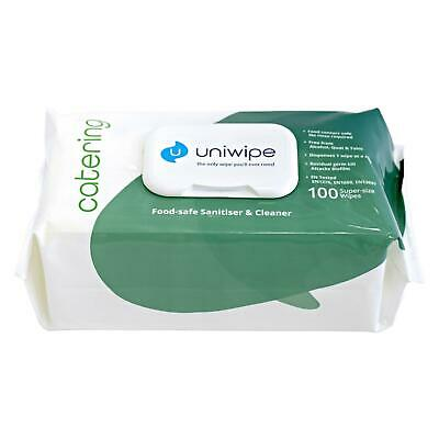 Uniwipe Catering 100 Large Wipes Food-Safe Industrial Sanitising Cleaning Cloths