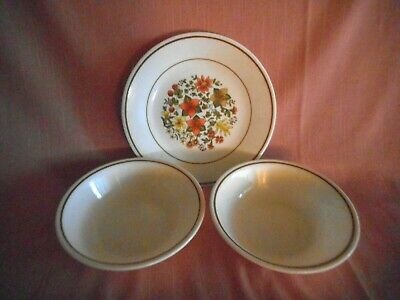 Corning Corelle 'INDIAN SUMMER' Bread and Butter Plate - 2 Fruit Sauce Bowls