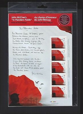Canada # 2835   Full Pane  IN FLANDERS FIELDS    Brand New 2015 Sealed Issue