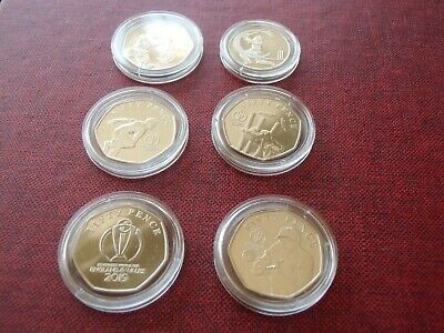 2019 : Uncirculated : Isle of Man : Set of Cricket World Cup 50p coins plus 10p