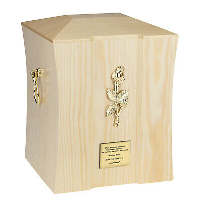 Beautiful Solid Wood Casket Funeral Ashes Urn For Adult Personalized Memorial