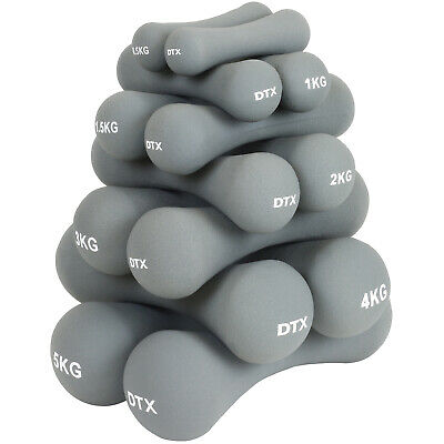 DTX Fitness Soft Grey Dumbbell Hand Weights Gym Exercise Dumbells Ladies/Mens