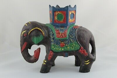 Figurine Elephant Hindu of the Luck in Plaster, Painted Hand
