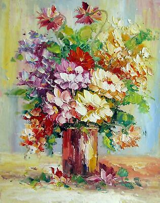 Vase Flower 12x16 in. stretched Oil Painting Canvas Art Wall Decor modern008