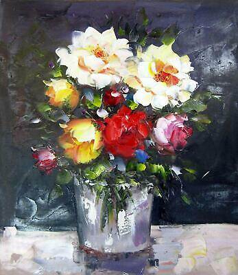 Vase Flower 20x24 in. stretched Oil Painting Canvas Art Wall Decor modern228