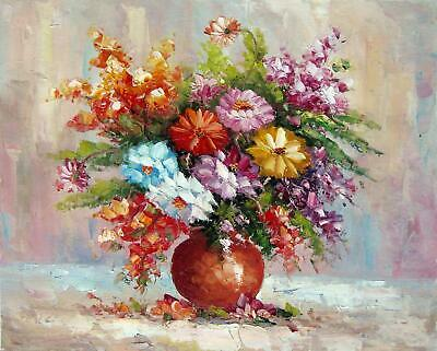Vase Flower 20x24 in. stretched Oil Painting Canvas Art Wall Decor modern221