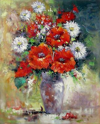 Vase Flower 20x24 in. stretched Oil Painting Canvas Art Wall Decor modern304