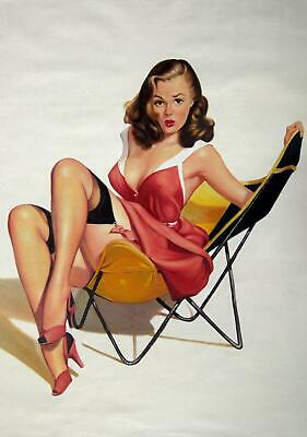Rep. Gil Elvgren 24x36 in. stretched Oil Painting Canvas Art Wall Decor moder28D