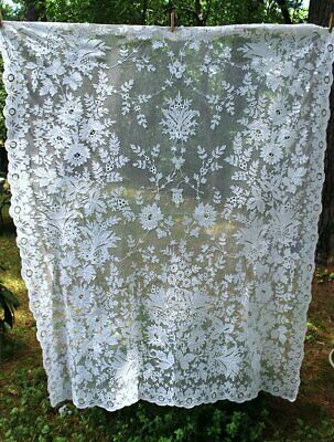 1900 Antique Dense Tambour Lace On Net Embroidered Curtain Panel Floral Designs