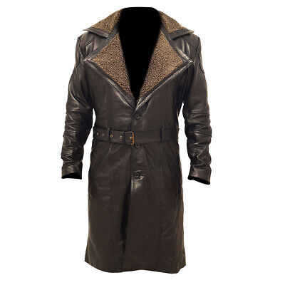 Mens German WW2 Brown Belted Fur Real Leather Trench Long Winter Coat Jacket