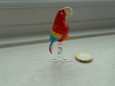 Parrot/Macaw - Beautiful  Detailed Glass Miniature Macaw - Red, Blue & Yellow