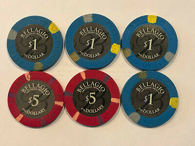Bellagio Casino Las Vegas Nv Gaming Chip Two $5 And Four $1