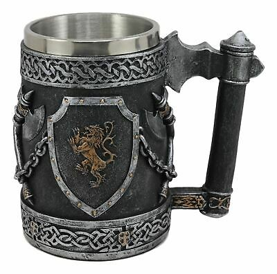 "Ebros Resin Medieval Coat of Arms Lion Heraldry English Tankard Mug Decor 6.25""L"