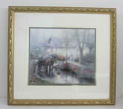 Thomas Kinkade 'Sunday Outing' VTG 1990s Horse Carriage Lithograph Framed 20x22