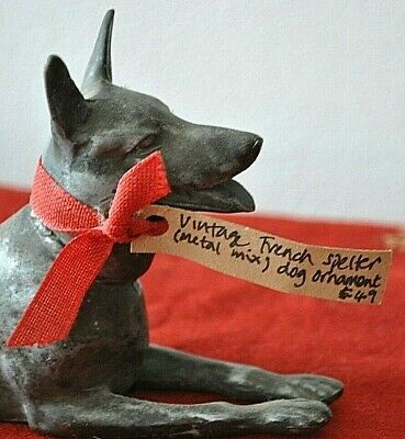 1930s FRENCH SPELTER (METAL MIX) DOG ORNAMENT