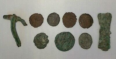 Job Lot of Unresearched Ancient Roman British Artefacts - Coins & Brooches