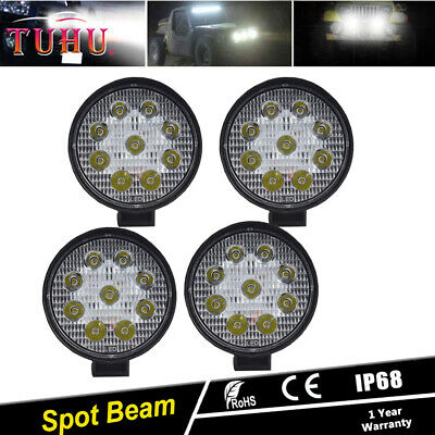 4 PCS 4Inch 27W Round Spot Beam Led Work Light Driving Fog Lights Front Bumper