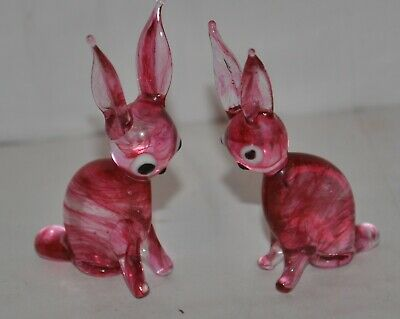 Vintage Murano Glass Minature Pink Hares x 2