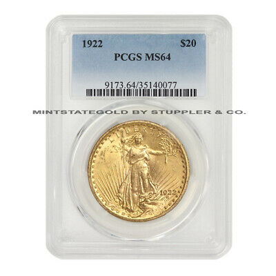 1922 $20 Saint Gaudens PCGS MS64 choice graded Gold Double Eagle twenty dollars