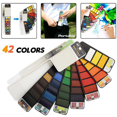 42 Colors Portable Whirl Solid Watercolor Pigment Paint Set with Water Brush Pen
