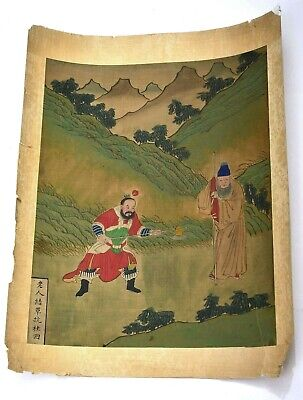 Early 20C Chinese Silk Painting Scholar & Warrior Figure Figurine Calligraphy