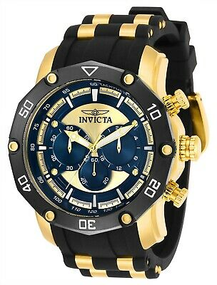 Invicta 30079 Pro Diver Men's 50mm Chronograph Gold-Tone Blue Dial Watch
