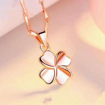 Rose Gold Clover Pendant 925 Sterling Silver Chain Necklace Women Jewellery Gift