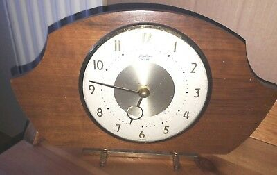 Vintage Bentima Clock 8 Day Wind Up Wood on Gold Metal Stand Made in France