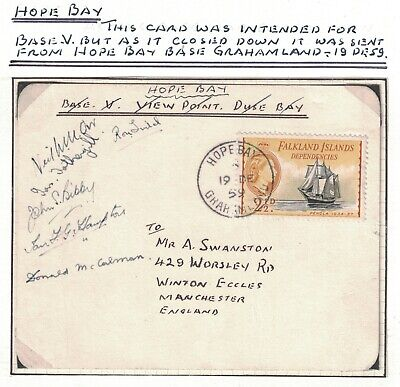 1959, Scientific Bases In The Falkland Islands, Hope Bay, Signed, Rare Item.