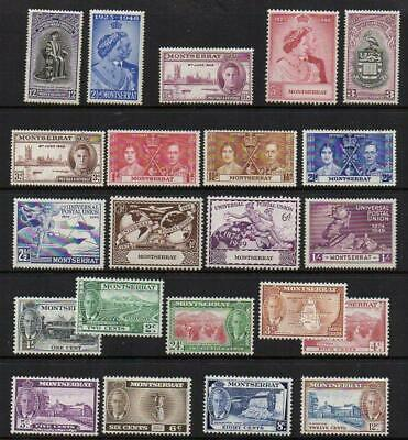 MONSERRAT  1937-49  6 SETS 22 Stamps  Excellent Looking M.Mint with Gum Nice Lot