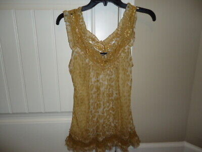 Wet Seal Gold/yellow/gray sheer sleeveless top with lace, M