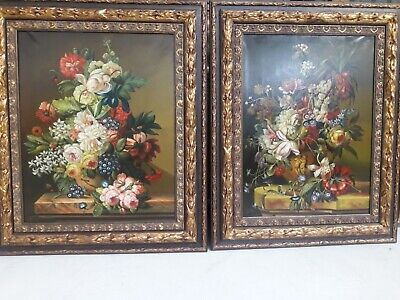 Pareja de Bodegon de flores, Oleo sober lienzo, Pair of Flower Oil Pinting