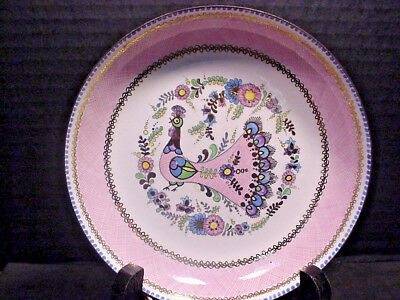 Steinbock Enamel Peacock Dish Hand Made in Austria Pastels w/ Gold Accents