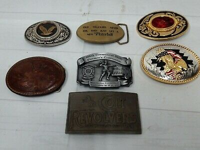 Lot of 7 Vintage Belt Buckles Brass Metal Leather Colt Eagle Trucker Fireman