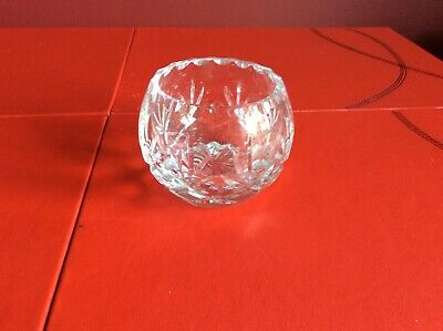 Vintage Nice Quality Cut Crystal Glass Small Pot/Ornament