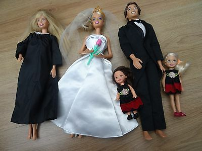 Barbie & Ken Wedding Bundle Inc Alan Doll Chelsea Bridesmaid + Priest Vicar