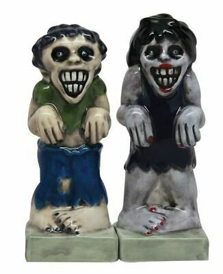 "Pacific Gift Zombies Magnetic Ceramic Halloween Salt and Pepper Shakers 4.25""H"
