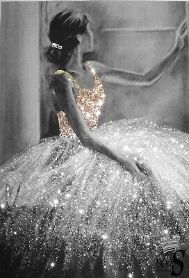 Ballerina Real Gold glitter picture. PRINT ONLY. No Frame..