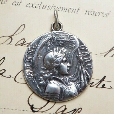 St Joan of Arc Battle Flag Medal - Sterling Silver Antique Replica