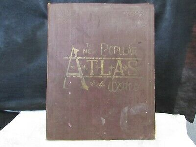 1892 POPULAR ATLAS OF THE WORLD maps of the US post office telegraph offices++