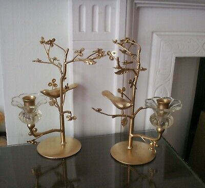Old Vintage Pair French Style Gold Decorated Metal and Glass Bird Candelabra