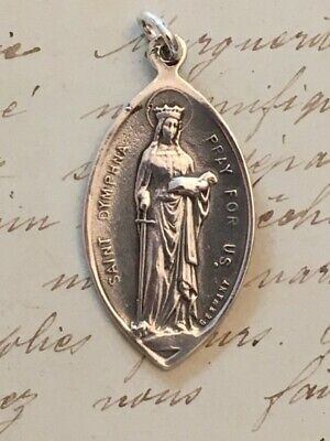St Dymphna Medal - Sterling Silver Antique Replica