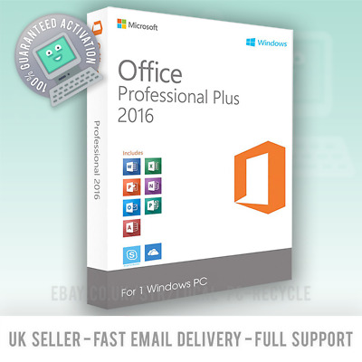 Microsoft Office 2016 Pro Professional Plus 32/64bit Genuine License Key Code