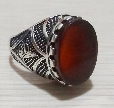Turkish 925 Sterling Silver Agate Stone Men's Ring Size 11.25  Wgt: 7.3 gr #100