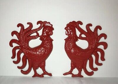 "9.5""Vintage Cast Iron RED Roosters Farmhouse Kitchen Decor Wall Hanging Set Of 2"