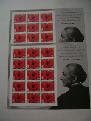 3069 Georgia O'Keeffe Red Poppy. 2- Sheet of 15-32 cent US postage stamps.